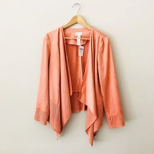 Chico's Faux Suede Perforated Drape Jacket Peach